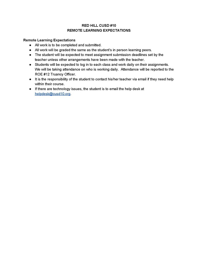 Red Hill CUSD #10 Remote Learning Guidelines