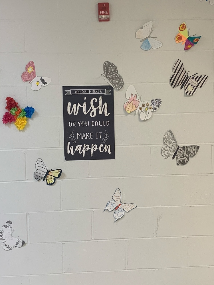 ​Students in English II are finishing up a Holocaust unit and made butterflies to represent the survival and strength of Jewish Holocaust survivors.