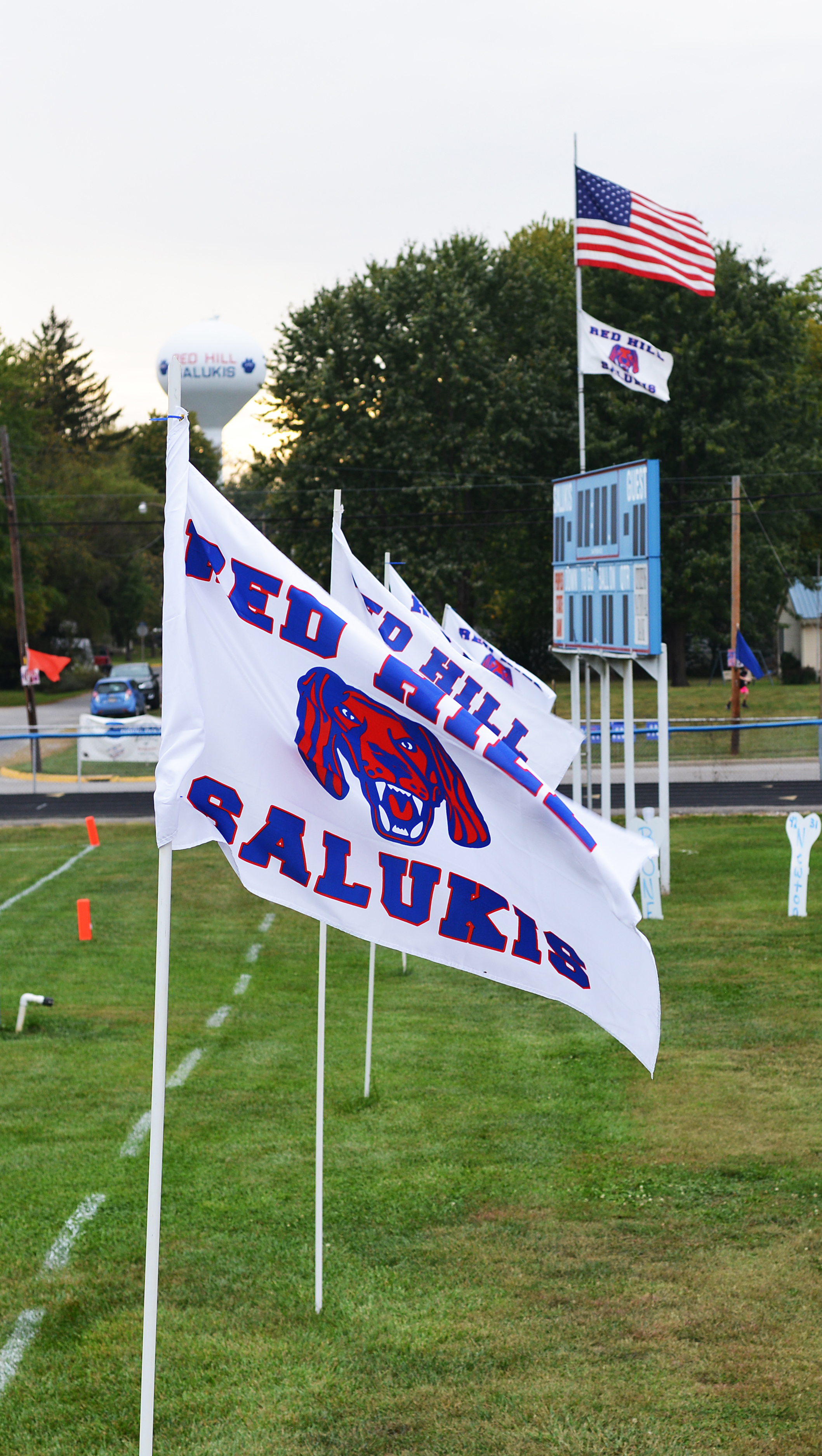 White and Blue Red Hill Salukis Flags