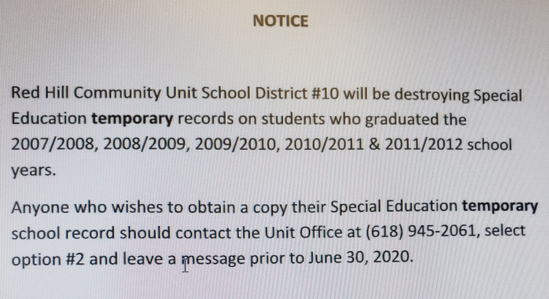 NOTICE OF DESTRUCTION OF TEMPORARY SPECIAL EDUCATION FILES